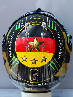 F1: The helmet of Nico Rosberg, Mercedes AMG F1 celebrating Germany's 2014 FIFA World Cup success