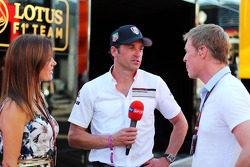 (L to R): Natalie Pinkham, Sky Sports Presenter; Patrick Dempsey who is competing in the Porsche Supercup race; Simon Lazenby, Sky Sports F1 TV Presenter