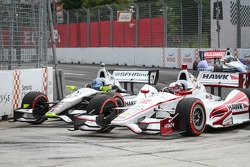 Josef Newgarden, Sarah Fisher Hartman Racing and Juan Pablo Montoya, Penske Racing Chevrolet