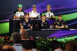 The FIA Press Conference: Kamui Kobayashi, Caterham; Esteban Gutierrez, Sauber; Marcus Ericsson, Caterham; Jean-Eric Vergne, Scuderia Toro Rosso; Sergio Perez, Sahara Force India F1; Pastor Maldonado, Lotus F1 Team