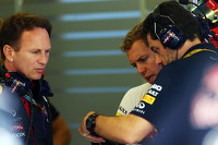 Christian Horner, Red Bull Racing Team Principal with Sebastian Vettel, Red Bull Racing and Guillaume Rocquelin, Red Bull Racing Race Engineer