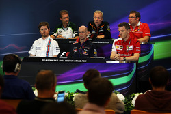 The FIA Press Conference: John Iley, Caterham F1 Team Technical Director; Andrew Green, Sahara Force India F1 Team Technical Director; Dave Greenwood, Marussia F1 Team Race Engineer; Rob Smedley, Williams Head of Vehicle Performance; Adrian Newey, Red Bul