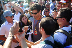 Mark Webber, with fans