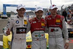 Qualifying, 2nd Marco Wittmann, BMW Team RMG BMW M4 DTM, 1st Mike Rockenfeller, Audi Sport Team Phoenix Audi RS 5 DTM, 3rd Edoardo Mortara, Audi Sport Team Abt Audi RS 5 DTM