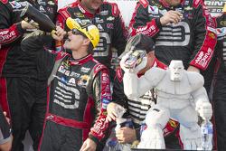 Race winner Jeff Gordon celebrates