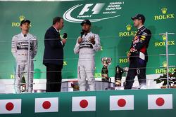 Podium: race winner Lewis Hamilton, second place Nico Rosberg, third place Sebastian Vettel