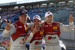 Polesitter Miguel Molina, second place Mattias Ekström, third place Edoardo Mortara
