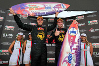 Race winners Shane van Gisbergen and Jonathon Webb