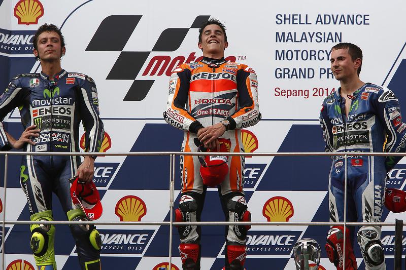 2014: 1. Marc Marquez, 2. Valentino Rossi, 3. Jorge Lorenzo