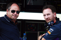 (L to R): Gerhard Berger, with Christian Horner, Red Bull Racing Team Principal