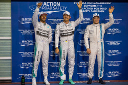 Qualifying top three in parc ferme: Lewis Hamilton, Mercedes AMG F1, second; Nico Rosberg, Mercedes AMG F1, pole position; Valtteri Bottas, Williams, third