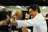 Toto Wolff, Mercedes AMG F1 Shareholder and Executive Director celebrates the World Championship with the team