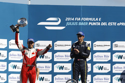 Podium: race winner Sebastien Buemi, e.dams-Renault, second place Nelson Piquet Jr., China Racing