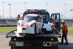 #0 DeltaWing Racing Cars DWC13: Katherine Legge, Memo Rojas, Gabby Chaves after crash