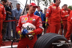 Michael Schumacher ready for a pitstop