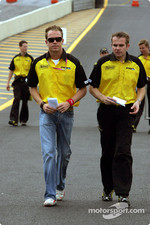 Robert Doornbos walks the track with a Jordan engineer