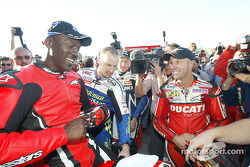 Basketball legend Michael Jordan tries a Ducati Desmosedici