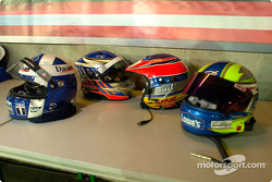 Helmets of some of the drivers