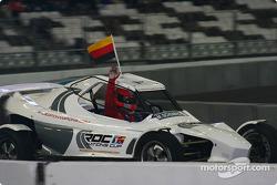 The World Champions Challenge 2004 winner Michael Schumacher celebrates