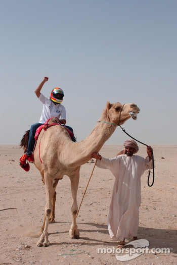 Antonio Pizzonia on a camel