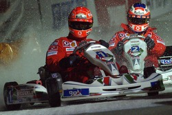 Kart race on ice: Michael Schumacher and Rubens Barrichello