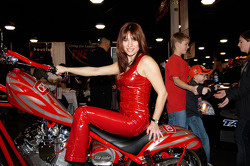 Miss CRC, atop CRC's custom chopper built by Orange County Choppers.  The bike will be given away in the