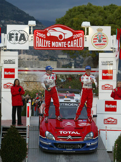 Podium: champagne for winners Sébastien Loeb and Daniel Elena