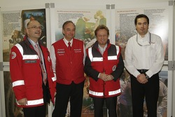 Lübbo Roewer from German Red Cross, Toyota Motorsport President John Howett, Red Cross Ambassador Uwe Hübner and Toyota Motorsport HR Manager Rob Leupen
