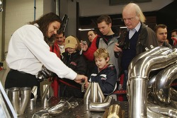Visitors learn the detailed process behind building an engine exhaust