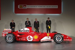 Jean Todt, Paolo Martinelli, Rory Byrne and Ross Brawn present the new Ferrrari F2005