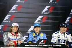 Press conference: pole winner Giancarlo Fisichella with Jarno Trulli and Mark Webber