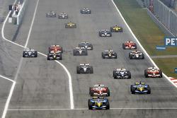Fernando Alonso leads Jarno Trulli
