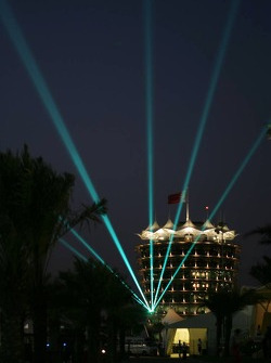 Light show in Bahrain International Circuit paddock