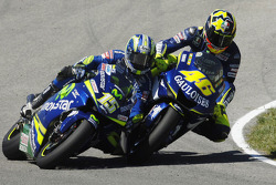 Valentino Rossi and Sete Gibernau battle