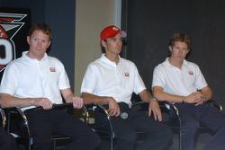 Target Chip Ganassi Racing drivers Scott Dixon, left, Darren Manning, center, and Ryan Briscoe
