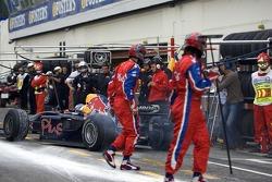 Heikki Kovalainen leaves the pits
