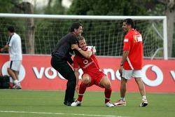 Football game at Campo de Deportes Municipal de Montmelo: Michael Schumacher and Marc Gene