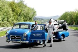 Mercedes-Benz on the Nordschleife photoshoot: Juan Pablo Montoya and Kimi Raikkonen pose with a vintage Mercedes-Benz transporter