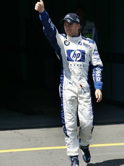 Pole winner Nick Heidfeld celebrates