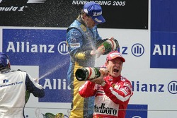 Podium: champagne for Fernando Alonso, Nick Heidfeld and Rubens Barrichello