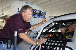 NASCAR official Steve Petersen chats with Dale Jarrett