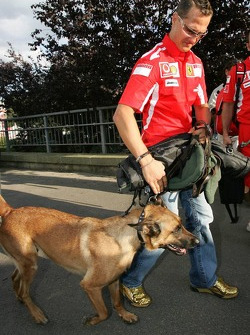 Michael Schumacher with dog Shiva