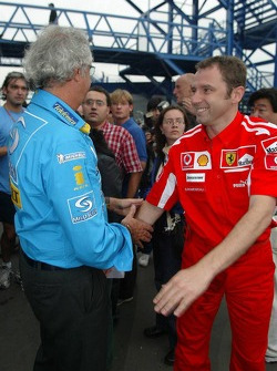 Flavio Briatore congratulated by Stefano Domenicali