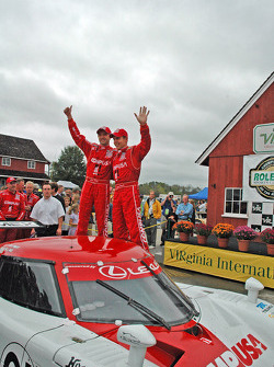 Scott Pruett, Luis Diaz celebrate win