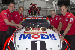Garth Tander, James Courtney and co drivers Jack Perkins and Warren Luff unveil the 2015 Holden Racing Team livery