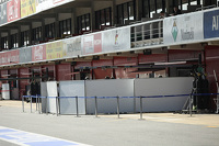 Barriers up outside the Williams pit garage