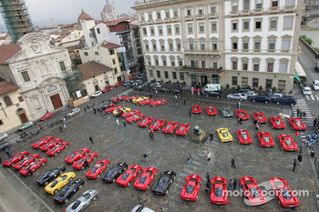 Ferrari Enzo cars about to start the Maranello-Mugello drive
