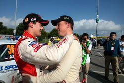 Daniel Sordo celebrates 2005 JWRC title with Kris Meeke