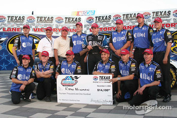 Team Penske and Ryan Newman celebrate the pole win at Texas Motor Speedway