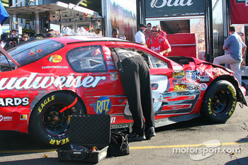 Car of Dale Earnhardt Jr. in garage area